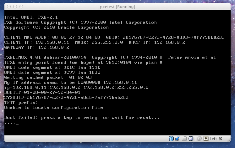 pxetest boot screenshot